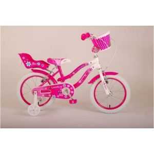 Volare Lovely kids Bicycle Girls 16 inch Pink White Two Handbrakes 95% assembled