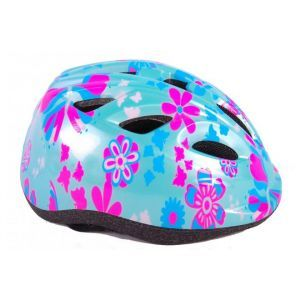 Volare kids Bicycle Helmet XS Blue Pink Flowers 47-51 cm extra small model