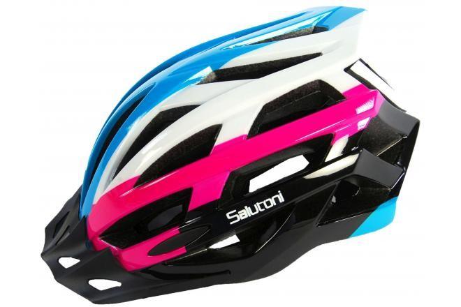 Salutoni Ladies Bicycle Helmet - Blue White Pink - 58-61 cm