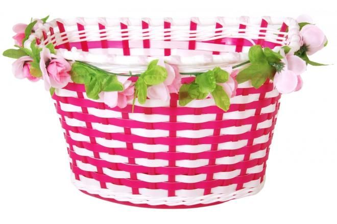 Volare Braided Bicycle Basket Flowers Girls White/Pink