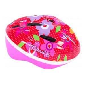 Volare Bicycle Helmet Deluxe Red Pink Flowers 51-55 cm