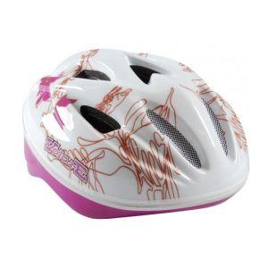 Volare Bicycle Helmet - Skate Helmet Deluxe white Pink Leaves 51-55 cm