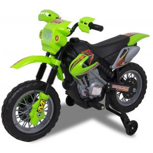 Electric motorcycle for kids green front view