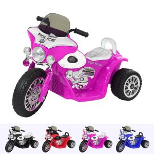 Wheely electric kids police motor pink front view