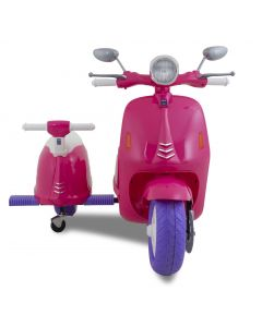 Vespa kids scooter with sidecar pink